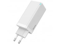 Incarcator Retea USB Baseus GaN, 1 X USB - 2 x USB Tip-C, 65W, Quick Charge, Alb CCGAN-B02