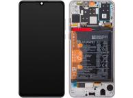 Display - Touchscreen Huawei P30 lite, Cu Rama, acumulator si piese, Alb 02352RQC