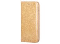 Husa Piele Forcell SHINING BOOK pentru Samsung Galaxy A12 A125, Aurie