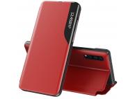 Husa Piele OEM Eco Leather View pentru Samsung Galaxy S21 5G, cu suport, Rosie