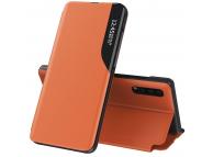 Husa Piele OEM Eco Leather View pentru Samsung Galaxy S21 5G, cu suport, Portocalie