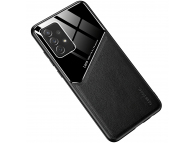 Husa Piele OEM LENS pentru Samsung Galaxy A71 A715, cu spate din sticla, Neagra