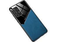 Husa Piele OEM LENS pentru Samsung Galaxy A12 A125, cu spate din sticla, Bleumarin