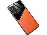 Husa Piele OEM LENS pentru Samsung Galaxy A12 A125, cu spate din sticla, Portocalie