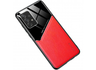 Husa Piele OEM LENS pentru Samsung Galaxy S21 5G, cu spate din sticla, Rosie