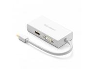 Hub USB UGREEN MD114, DisplayPort la HDMI / VGA / DVI, Alb
