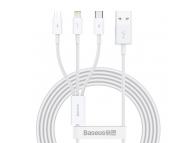 Cablu Incarcare USB - Lightning / MicroUSB / USB Type-C Baseus Superior Series, 1.2 m, 3.5A, Alb CAMLTYS-02