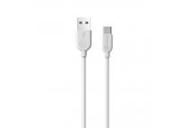 Cablu Date si Incarcare USB la USB Type-C Borofone BX14 LinkJet, 2 m, Alb