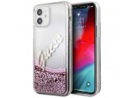 Husa Plastic - TPU Guess Liquid Glitter Vintage Script pentru Apple iPhone 12 mini, Roz GUHCP12SGLVSPI