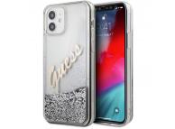 Husa Plastic - TPU Guess Liquid Glitter Vintage Script pentru Apple iPhone 12 mini, Argintie GUHCP12SGLVSSI