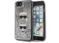 Husa Plastic - TPU Karl Lagerfeld Liquid Glitter 2 Heads pentru Apple iPhone 8 / Apple iPhone SE (2020), Argintie KLHCI8KCGLSL