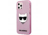 Husa TPU Karl Lagerfeld Choupette Head Glitter pentru Apple iPhone 12 / Apple iPhone 12 Pro, Roz KLHCP12MCHTUGLP