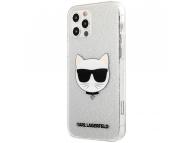 Husa TPU Karl Lagerfeld Choupette Head Glitter pentru Apple iPhone 12 / Apple iPhone 12 Pro, Argintie KLHCP12MCHTUGLS