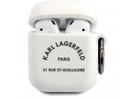 Husa Protectie Casti Karl Lagerfeld Rue St Guillaume pentru Apple AirPods Gen 1 / Apple AirPods Gen 2, Alba KLACA2SILRSGWH