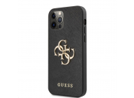 Husa Piele Guess Saffiano Big 4G Metal Logo pentru Apple iPhone 12 Pro Max, Neagra GUHCP12LSA4GGBK