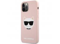 Husa TPU Karl Lagerfeld Choupette Head pentru Apple iPhone 12 / Apple iPhone 12 Pro, Roz Deschis KLHCP12MSLCHLP
