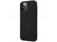 Husa TPU Karl Lagerfeld pentru Apple iPhone 12 Pro Max, Iconic Outline Tone on Tone, Neagra KLHCP12LSILTTBK