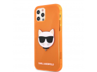Husa TPU Karl Lagerfeld Choupette Head pentru Apple iPhone 12 Pro Max, Portocalie KLHCP12LCHTRO