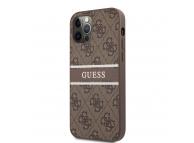Husa Piele Guess 4G Printed Stripe pentru Apple iPhone 12 Pro Max, Maro GUHCP12L4GDBR