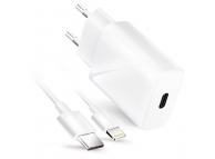 Incarcator Retea cu cablu Lightning Forcell, Quick Charge, 20W, 1 X USB Type-C, Alb