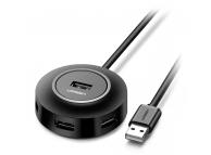 Hub USB UGREEN CR106, 4 x USB, USB 2.0, 1m, Negru