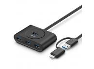 Hub USB UGREEN, USB 3.0 + USB-C 3.1 - 4xUSB, 1m, Negru