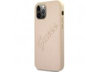 Husa Piele Guess Saffiano Vintage Script pentru Apple iPhone 12 / Apple iPhone 12 Pro, Aurie GUHCP12MRSAVSLG