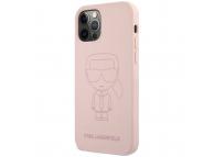Husa TPU Karl Lagerfeld pentru Apple iPhone 12 / Apple iPhone 12 Pro, Iconic Outline Tone on Tone, Roz KLHCP12MSILTTPI