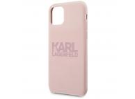 Husa TPU Karl Lagerfeld pentru Apple iPhone 11, Stack Pink Logo, Roz KLHCN61STKLTLP