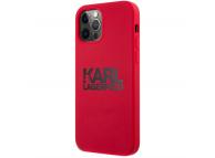 Husa TPU Karl Lagerfeld pentru Apple iPhone 12 / Apple iPhone 12 Pro, Stack Black Logo, Rosie KLHCP12MSLKLRE