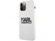 Husa TPU Karl Lagerfeld pentru Apple iPhone 12 / Apple iPhone 12 Pro, Stack Black Logo, Alba KLHCP12MSLKLWH