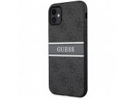 Husa Piele Guess 4G Printed Stripe pentru Apple iPhone 11, Gri GUHCN614GDGR