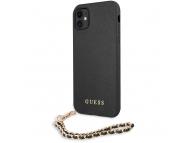 Husa Piele Guess Saffiano Gold Chain pentru Apple iPhone 11, Neagra GUHCN61SASGBK
