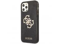 Husa Piele Guess Big 4G Full Glitter pentru Apple iPhone 12 / Apple iPhone 12 Pro, Neagra GUHCP12MPCUGL4GBK