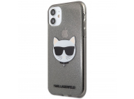 Husa TPU Karl Lagerfeld Choupette Head Glitter pentru Apple iPhone 11, Neagra KLHCN61CHTUGLB