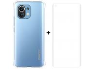 Pachet promotional Enkay pentru Xiaomi Mi 11, Husa TPU Antisoc Transparenta + Folie Protectie Ecran (Plastic, Fingerprint Unlock)