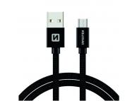 Cablu Date si Incarcare USB la MicroUSB Swissten Textile, 2 m, Negru