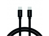Cablu Date si Incarcare USB Type-C la USB Type-C Swissten Textile, 1.2 m, Negru