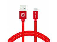 Cablu Date si Incarcare USB la USB Type-C Swissten Textile, 3 m, Rosu