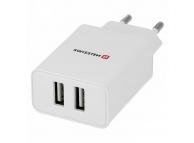 Incarcator Retea USB Swissten Travel Smart IC, 2.1A, 2 X USB, Alb