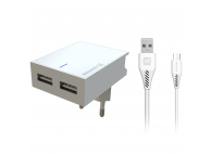 Incarcator Retea cu cablu MicroUSB Swissten Smart IC, Suport Device, 3A, 2 X USB, Alb