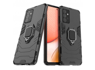 Husa Plastic - TPU OEM Ring Tough Armor Kickstand pentru Samsung Galaxy A72 4G / Samsung Galaxy A72 5G A725, Neagra