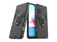 Husa Plastic - TPU OEM Ring Tough Armor Kickstand pentru Xiaomi Redmi Note 10 / Xiaomi Redmi Note 10S, Neagra