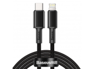 Cablu Date si Incarcare USB Type-C la Lightning Baseus, 2 m, 20W, Negru CATLGD-A01