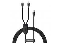 Cablu Date si Incarcare USB Type-C - Lightning / USB Type-C Baseus 2 in 1, 1.2 m, 100W, Negru CA1T2-F01