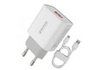 Incarcator Retea cu cablu MicroUSB WK-Design WP-U57, Quick Charge, 18W, 1 X USB, Alb