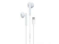 Handsfree Casti EarBuds WK-Design YA01, Cu microfon, USB Type-C, Alb