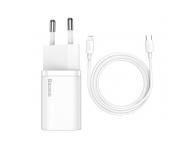 Incarcator Retea cu cablu Lightning Baseus Super Si, Quick Charge, 20W, 1 x USB Type-C, 1 m, Alb TZCCSUP-B02