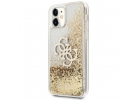 Husa Plastic - TPU Guess Big 4G Liquid Glitter Gold pentru Apple iPhone 11, Aurie Transparenta GUHCN61LG4GGO