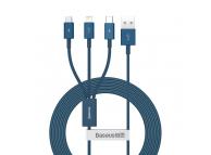 Cablu Incarcare USB - Lightning / USB Type-C / MicroUSB Baseus Superior Series, 1.5 m, 3.5A, Albastru CAMLTYS-03